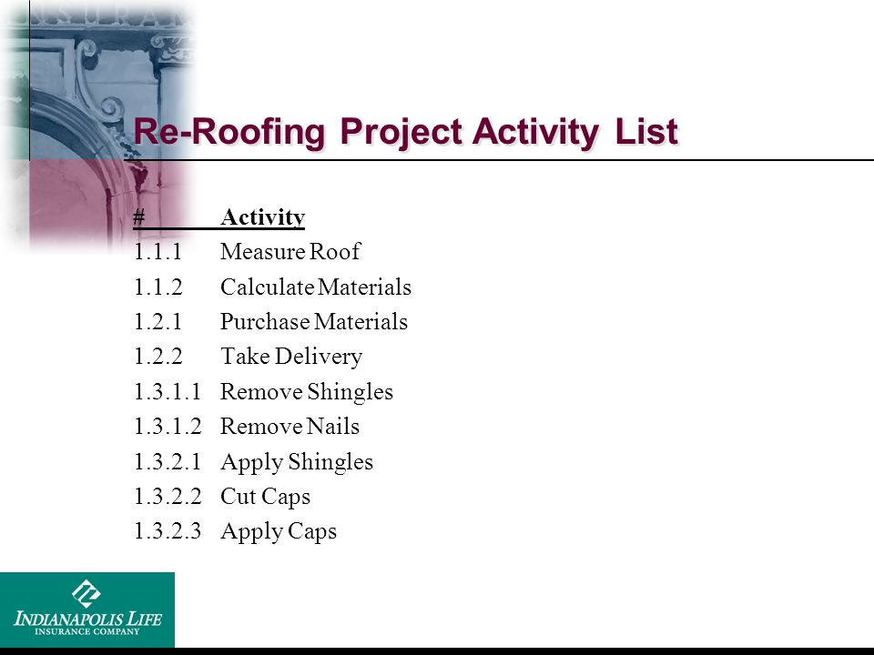 Re-Roofing Project Activity List