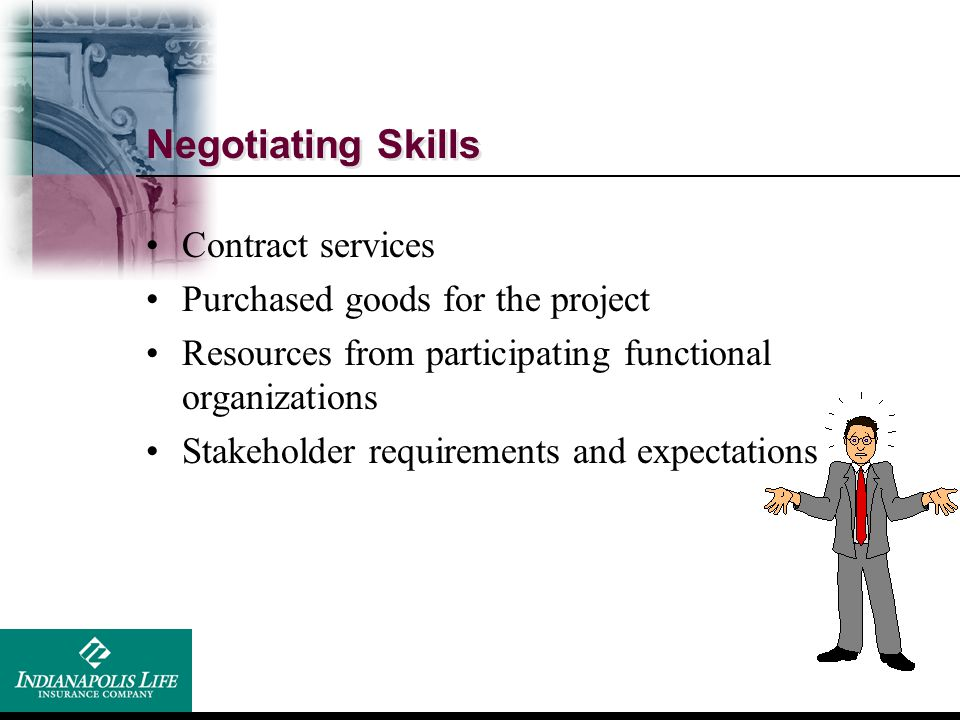 Negotiating Skills Contract services Purchased goods for the project
