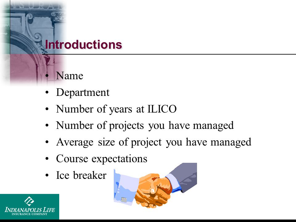 Introductions Name Department Number of years at ILICO