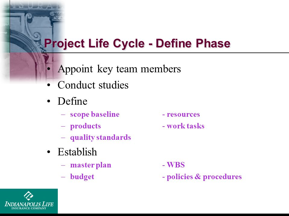 Project Life Cycle - Define Phase