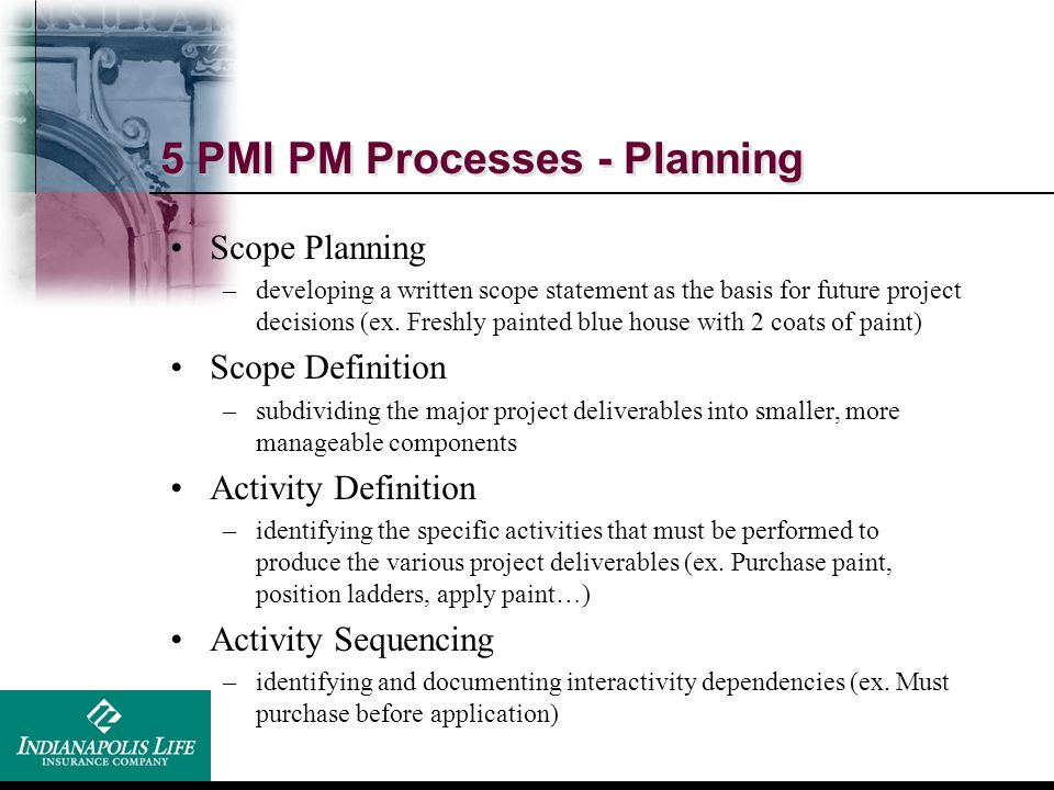 5 PMI PM Processes - Planning