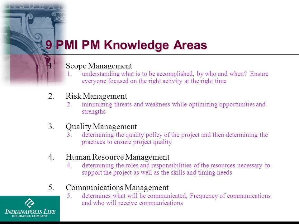 9 PMI PM Knowledge Areas Scope Management Risk Management