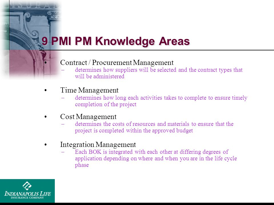 9 PMI PM Knowledge Areas Contract / Procurement Management