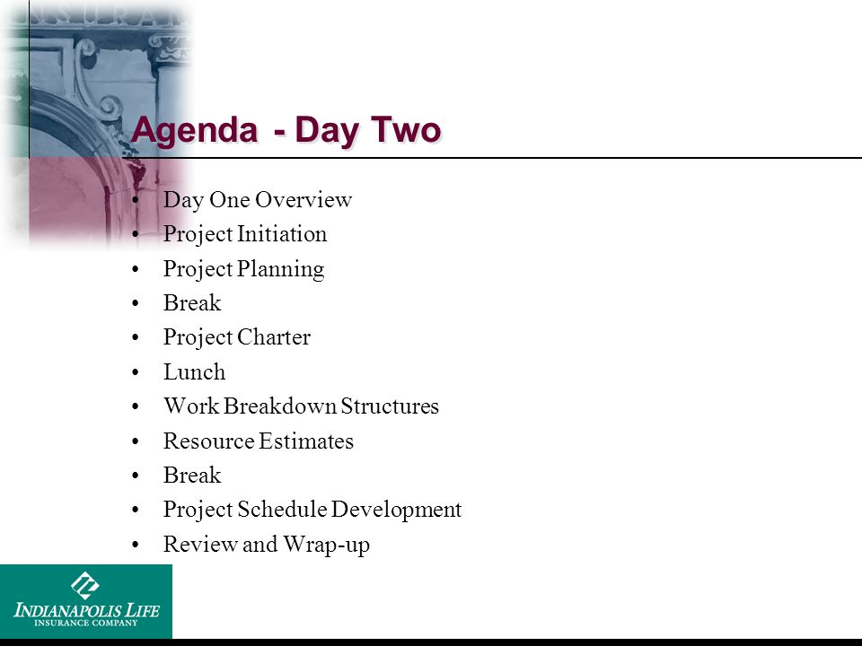 Agenda - Day Two Day One Overview Project Initiation Project Planning