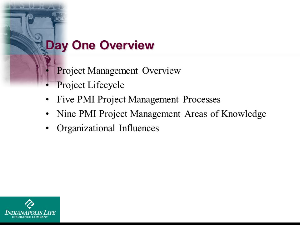 Day One Overview Project Management Overview Project Lifecycle