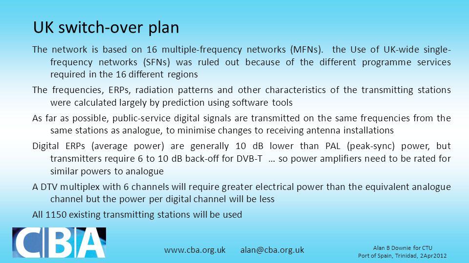 UK switch-over plan
