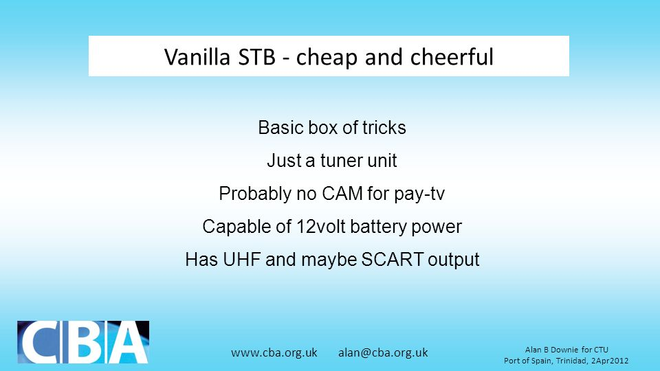 Vanilla STB - cheap and cheerful