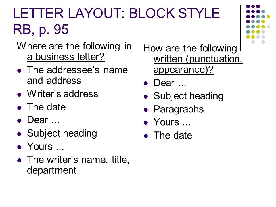 LETTER LAYOUT: BLOCK STYLE RB, p. 95