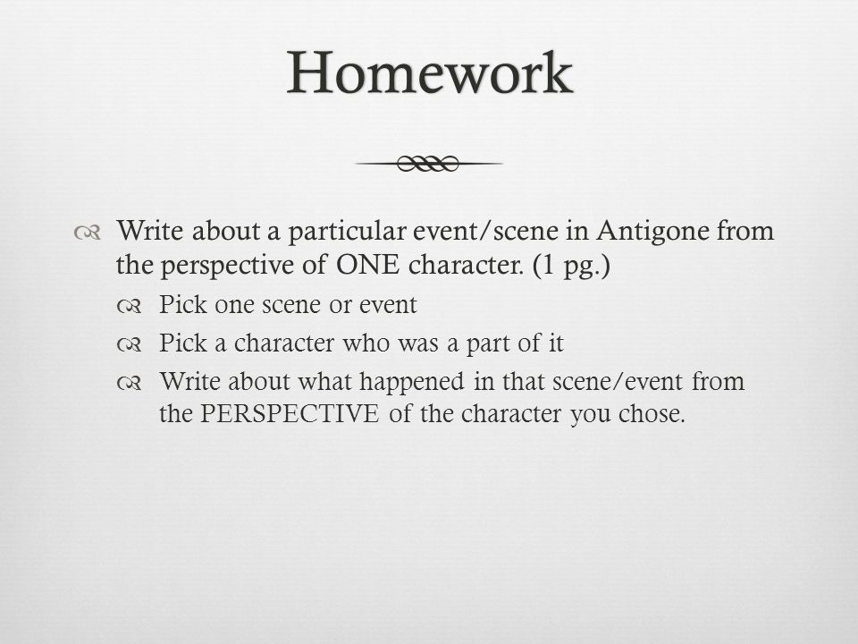 an overview of the violent scenes in antigone Antigone is the protagonist of antigone a tragic play written by sophocles, one of the great ancient greek playwrights in antigone written by sophocles , antigone's uncompromising pride, loyalty, and determination.