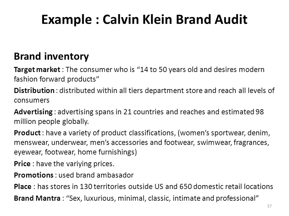 """calvin klein brand audit questionnaire Calvin klein brand audit - download as (rtf), pdf file (pdf), text file (txt) or  read online  it is best to use the following checklist: sincerity the brand""""s."""