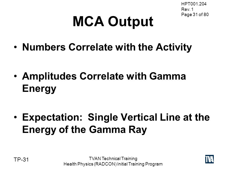 gamma spectroscopy hpt tvan technical training