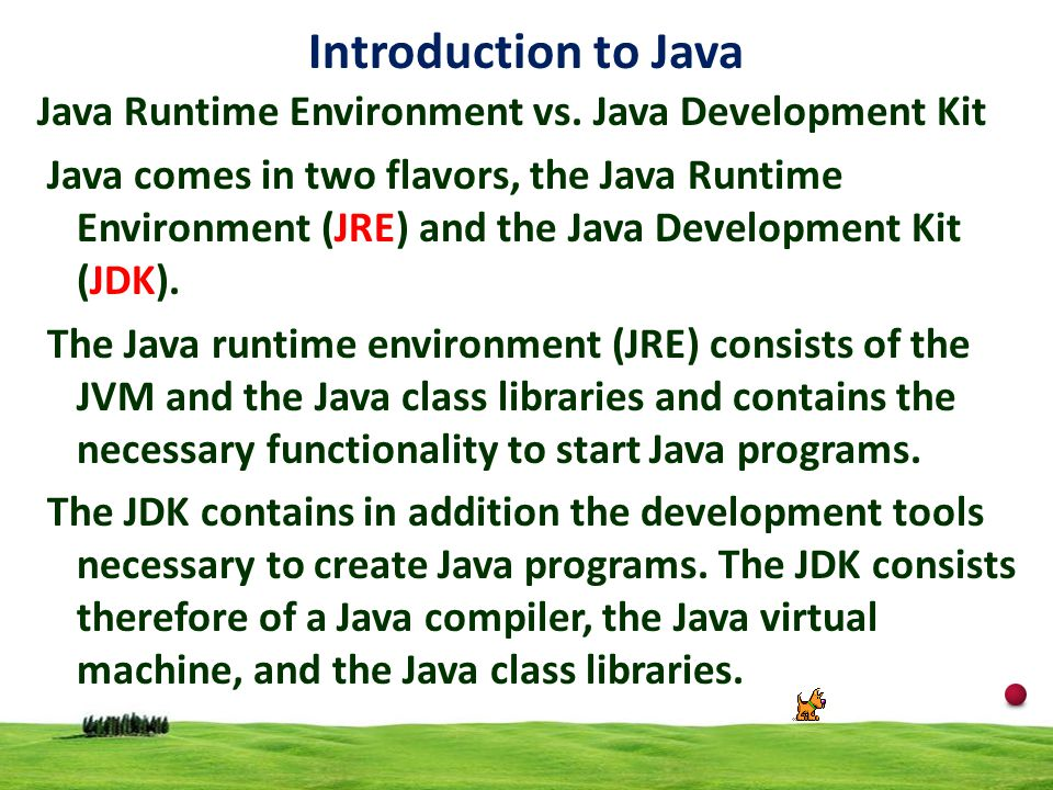Introduction to Java Java Runtime Environment vs. Java Development Kit