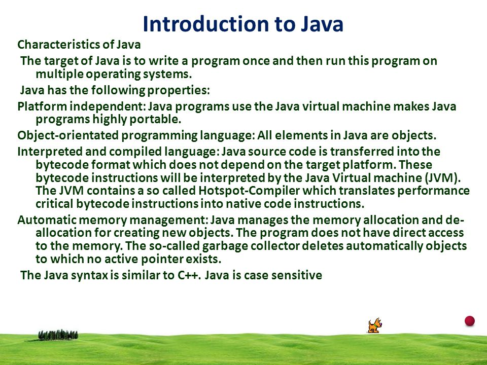 Introduction to Java Characteristics of Java