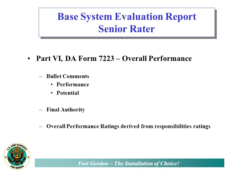 Evaluation performance report bullets