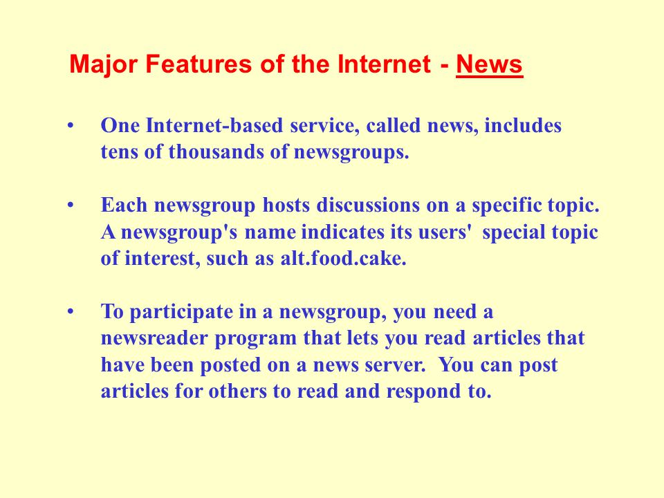 Major Features of the Internet - News