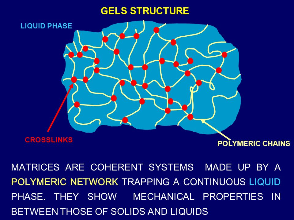 GELS STRUCTURE LIQUID PHASE. CROSSLINKS. POLYMERIC CHAINS.