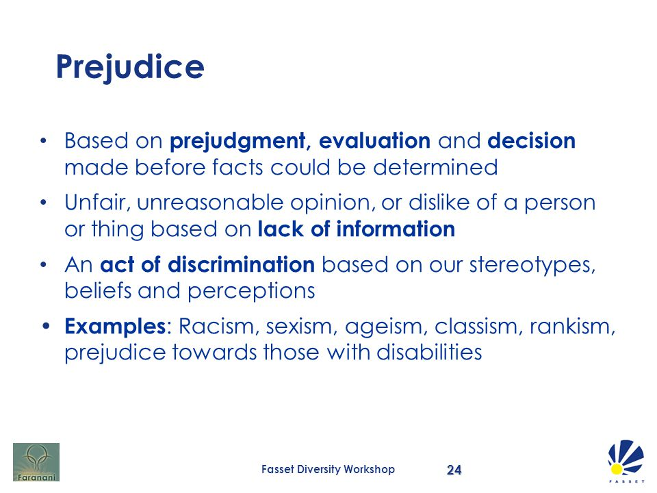stereotyping and prejudgment in the workplace Prejudice / discrimination 0 + prejudice, a prejudgment or assumption made about someone without such as discrimination in the workplace.