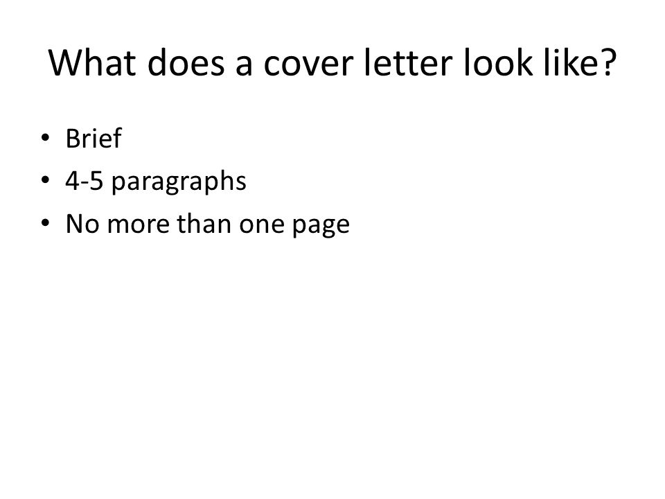 What does a cover letter look like