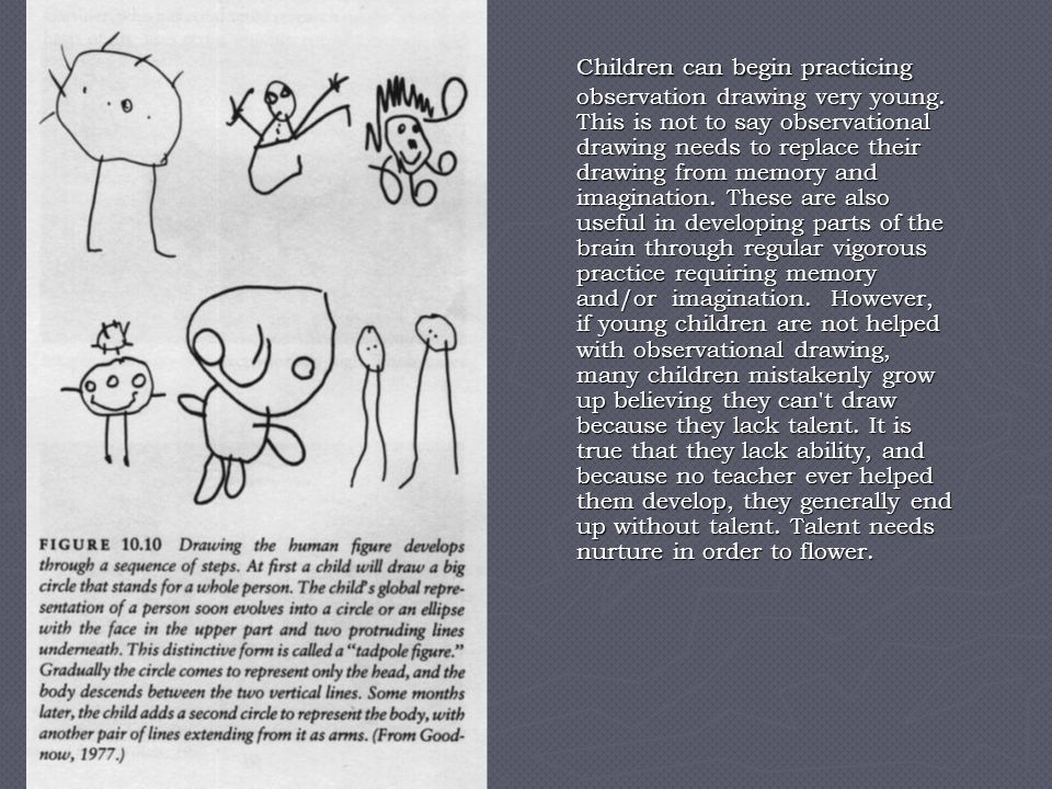 Children can begin practicing observation drawing very young