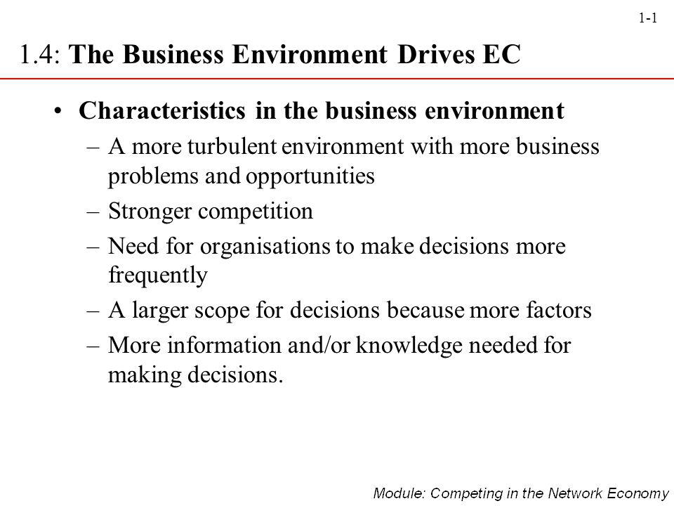 1.4: The Business Environment Drives EC