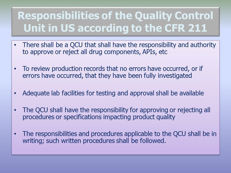 quality control roles and responsibilities pdf