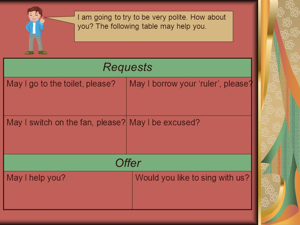 Requests Offer May I go to the toilet  please. Polite    Being polite is a form of respect for others    ppt