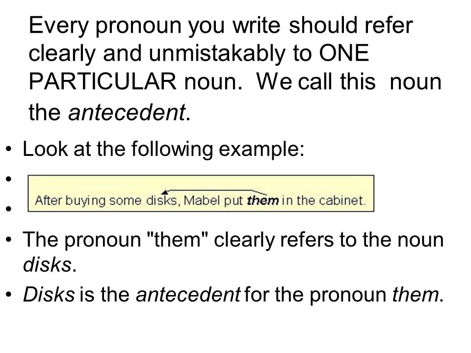 clear pronoun This section has information about how to use pronouns correctly.