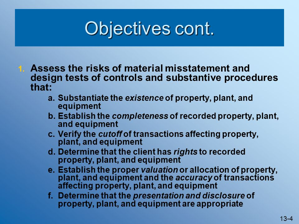 audit of property plant and equipment Fixed assets, also known as tangible assets or property, plant and equipment ( pp&e), is a term  auditing[show] financial internal firms report people  and.