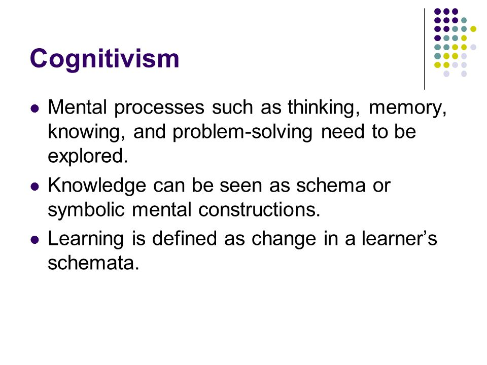 Cognitivism Mental processes such as thinking, memory, knowing, and problem-solving need to be explored.