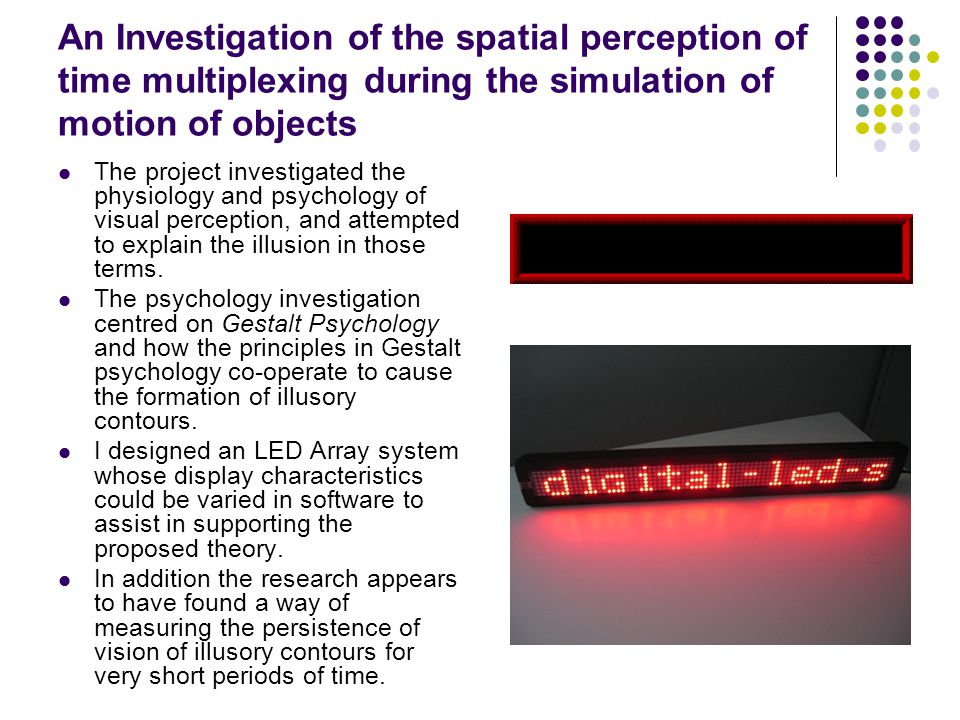 An Investigation of the spatial perception of time multiplexing during the simulation of motion of objects