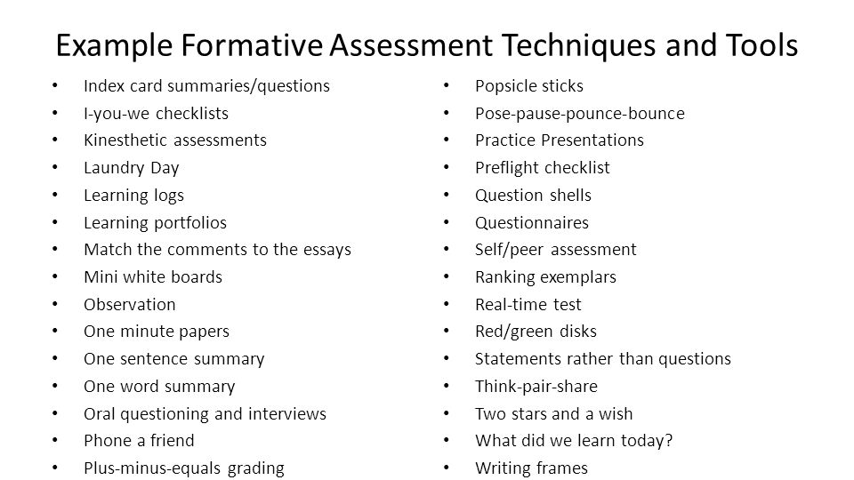 Perfect 52 Example Formative Assessment ...