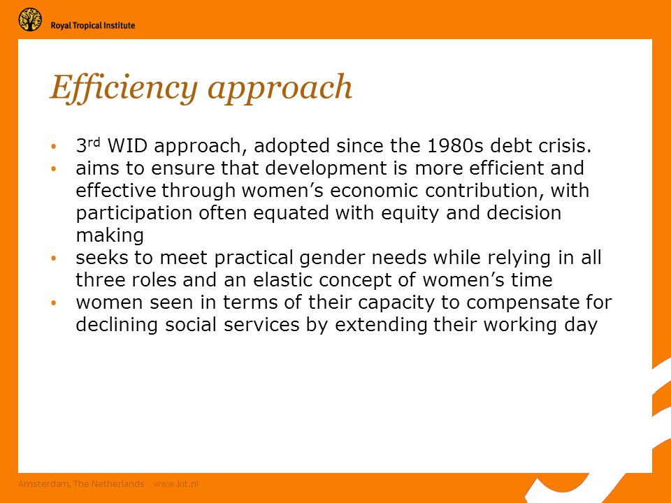 Efficiency approach 3rd WID approach, adopted since the 1980s debt crisis.