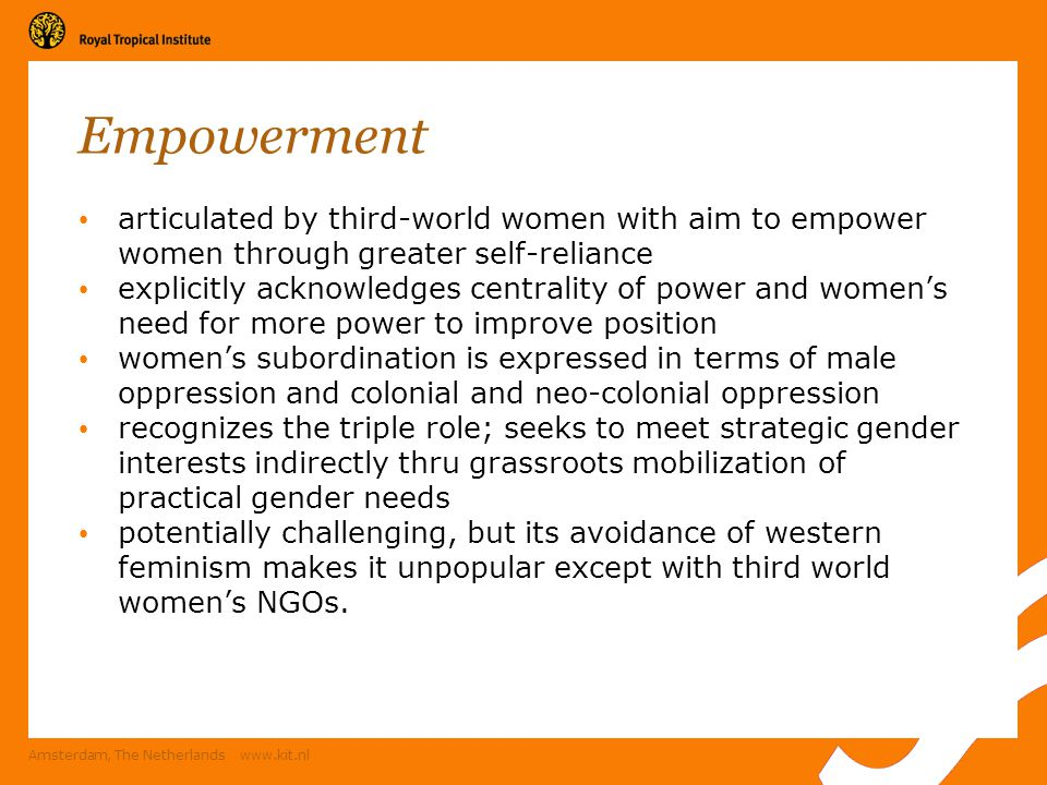 Empowerment articulated by third-world women with aim to empower women through greater self-reliance.