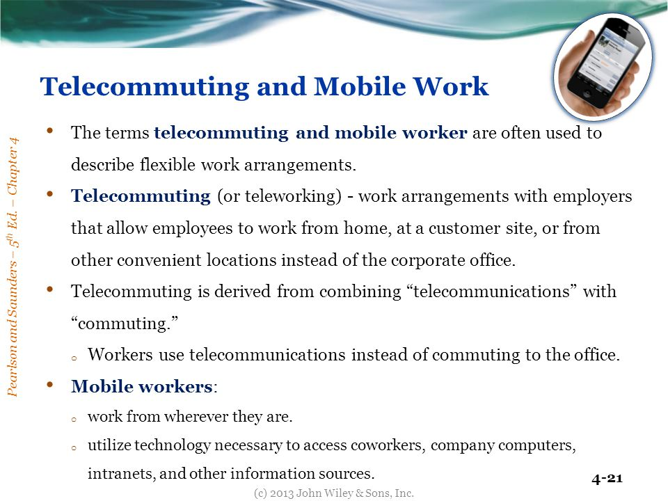 "telecommuting and the mobile worker Thanks to tech, it's time to telecommute  the good news is ""telecommuting""  for an at-home worker."