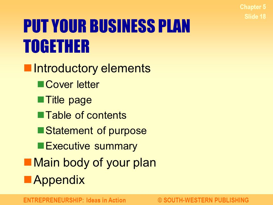 Business Plan Elements  Elements Of A Business Plan  Elements