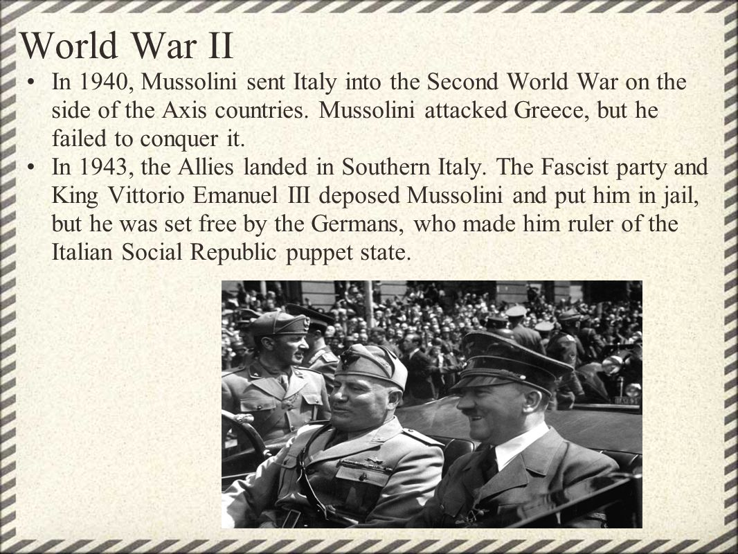 a brief look into the dictatorship of adolf hitler and benito mussolini Italian dictator benito mussolini was head of the italian government from 1922 to 1943 he was the founder of fascism, and as a dictator he held absolute mussolini then joined forces with german dictator adolf hitler (1889–1945) and in 1938 began to attack jewish people within the country just as germany was doing.