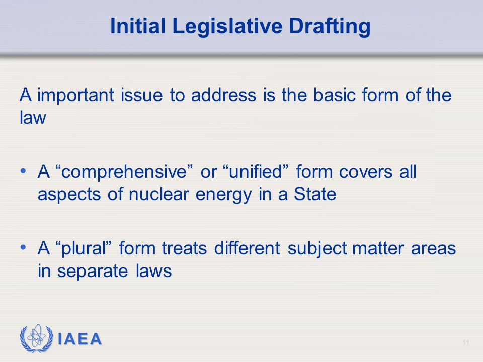 Initial Legislative Drafting
