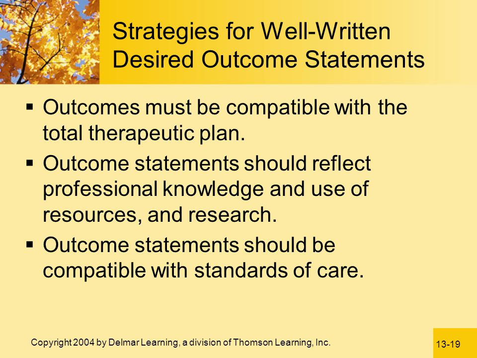 Strategies for Well-Written Desired Outcome Statements