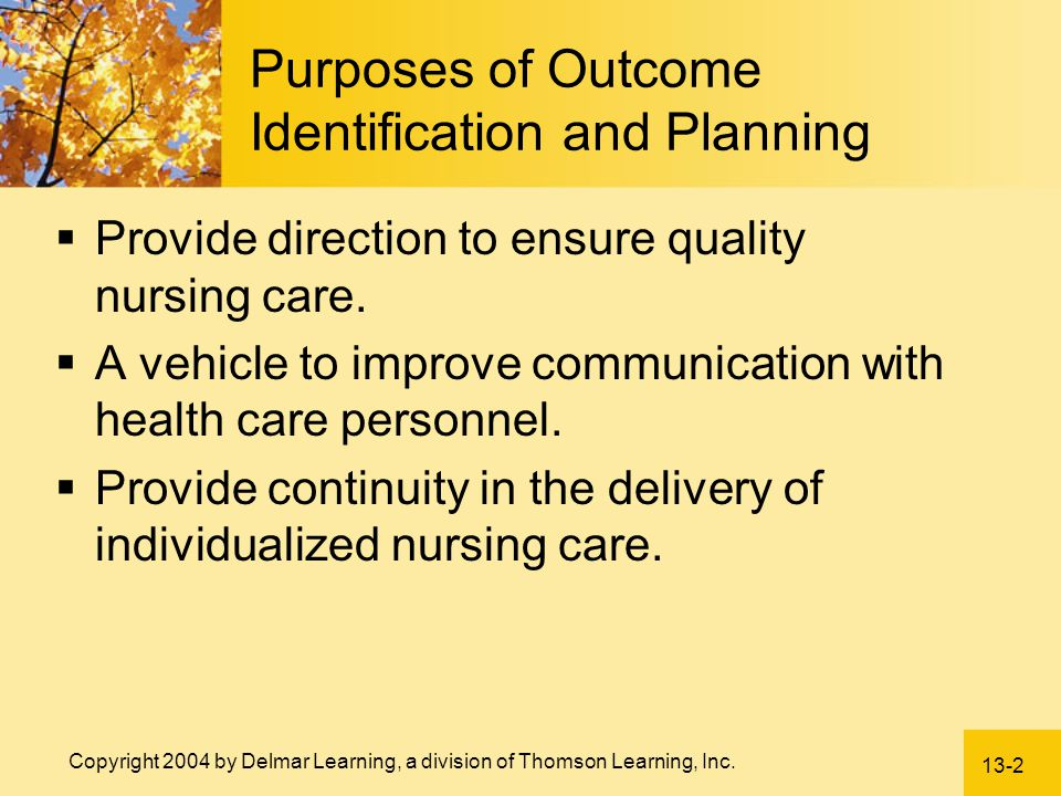 Purposes of Outcome Identification and Planning