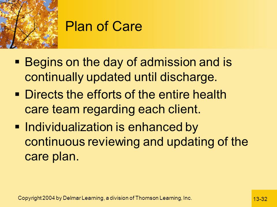 Plan of Care Begins on the day of admission and is continually updated until discharge.