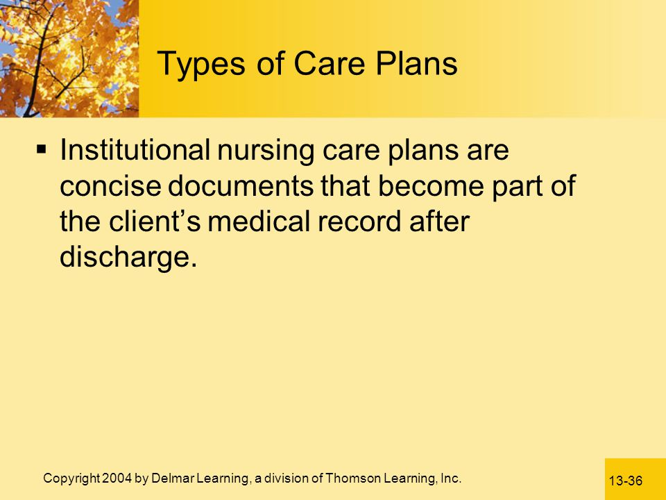 Types of Care Plans Institutional nursing care plans are concise documents that become part of the client's medical record after discharge.