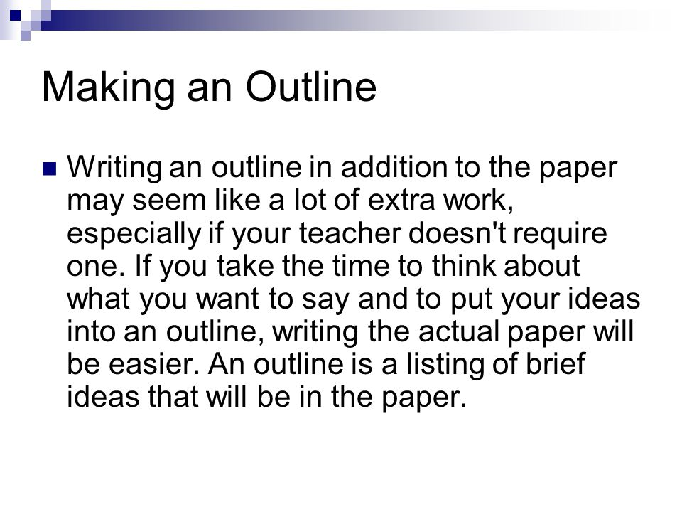 Student Guide: Writing a Research Paper Outline