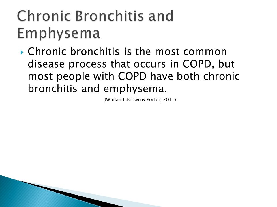 chronic bronchitis and emphysema Chronic obstructive pulmonary disease (copd) represents a spectrum of obstructive airway diseases it includes two key components which are chronic bronchitis-small airways disease and emphysema.