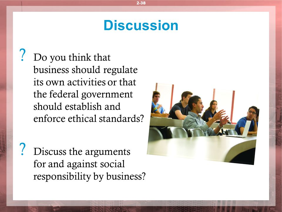 arguments for and against business being socially responsible Start studying chapter 3 those arguing against being socially responsible might make the one argument against businesses championing social.
