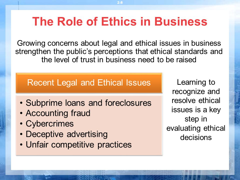 role of ethics