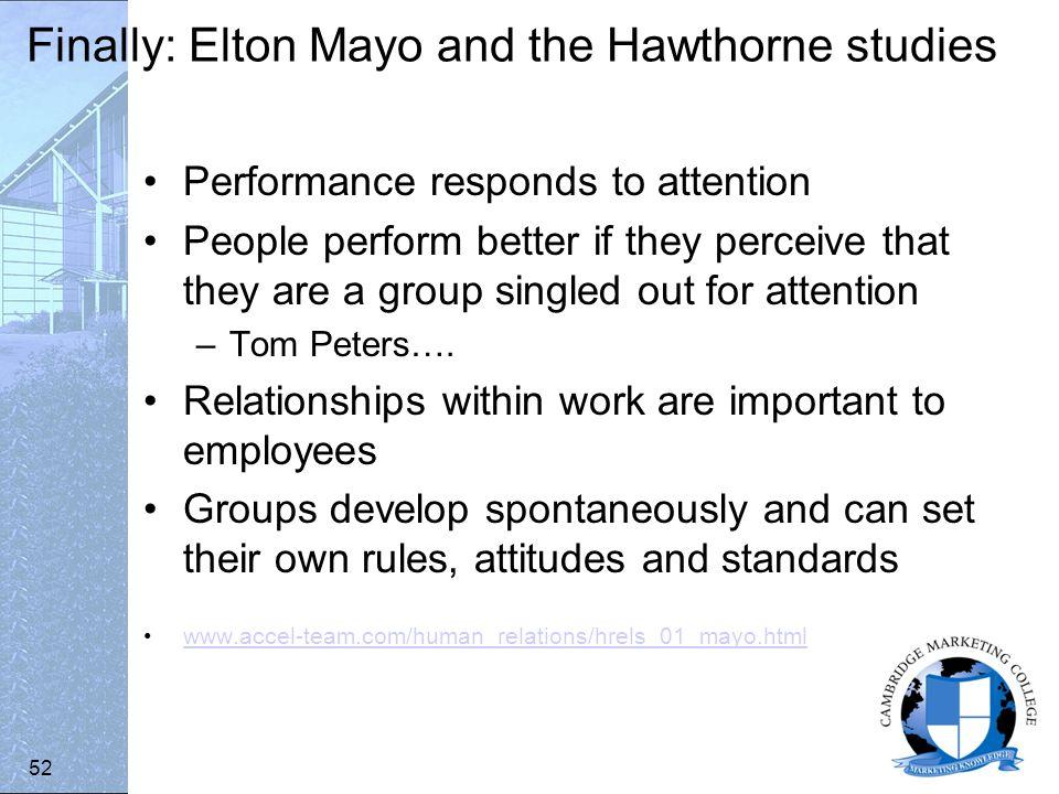 elton mayo hawthorne studies pdf