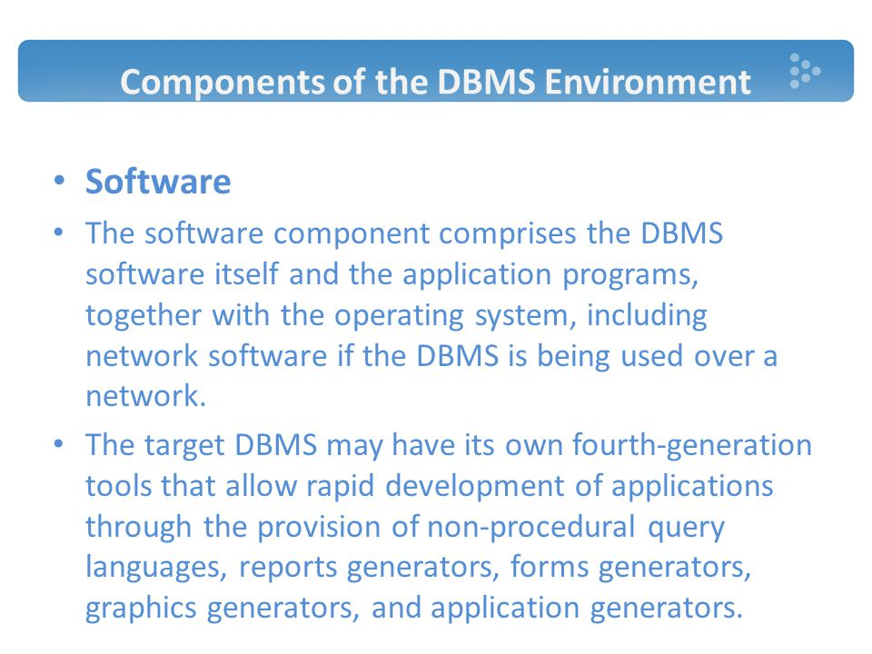 Components of the DBMS Environment