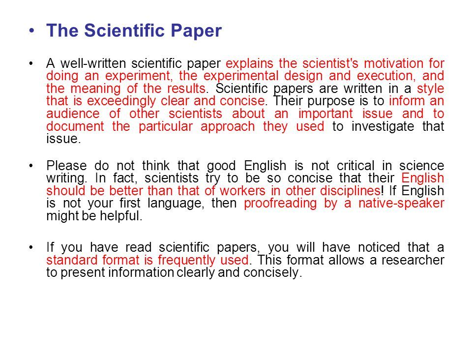 scientific essay structure What is the structure of a scientific paper all scientific papers have the same general format they are divided into distinct sections and each section contains a specific type of.