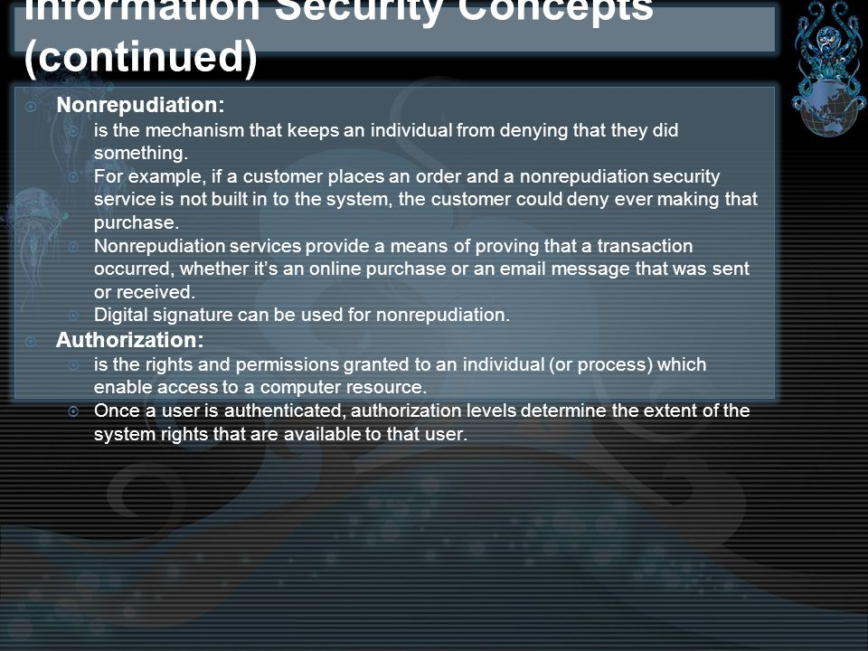 Information Security Concepts (continued)