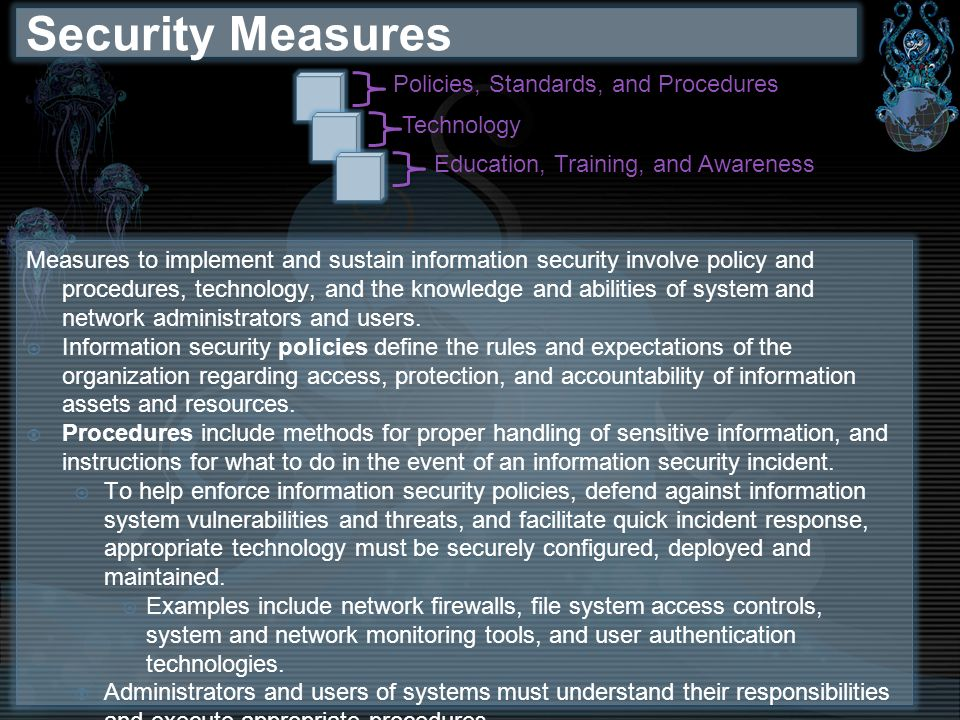 Security Measures Policies, Standards, and Procedures Technology